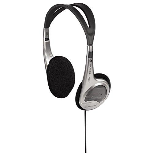 Hama Leichtkopfhörer HK-229 (On-Ear Super Bass, nur 70 g leicht, Stereo, 103dB, Kabellänge 150 cm, vergoldeter 3,5 mm Klinkenstecker, Kabelführung einseitig) silber