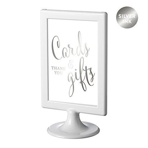 Andaz Press Framed Wedding Party Signs, Metallic Silver Ink, 4x6-inch, Cards and Gifts Thank You, Double-Sided, 1-Pack, Colored Decorations