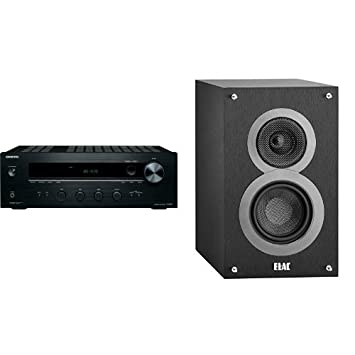 onkyo bookshelf stereo system. onkyo tx-8020 stereo receiver with a pair of elac debut b4 bookshelf speakers ( system