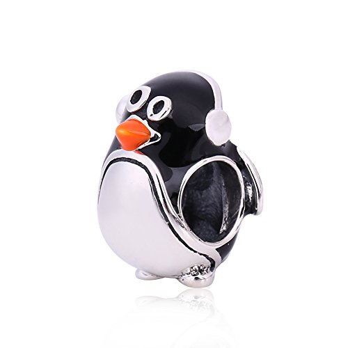 (Valentine's Penguin Charm - 925 Sterling Silver Animal Bead for European Charms)