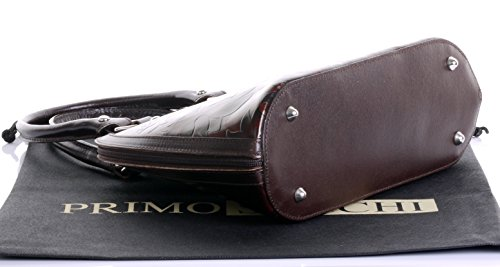 Leaf Hand Leather Brown Top Handle Primo Bowling amp; Dark a Bag Style Brown Protective Branded Includes Sacchi® Storage Shoulderbag Bag Mid Italian Design Embossed wtRvREq