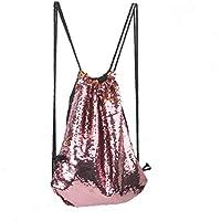 Tinksky Fashion Glitter Bag Sackpack Sequins Drawstring Backpack (Pink)