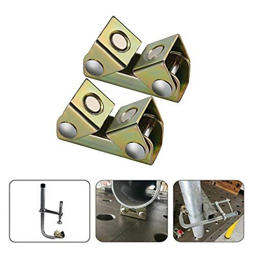 kitt 2Pc V-Welding Fixture, V Type Magnetic Welding Clamps Holder Suspender Fixture Adjustable V Pads Strong ()