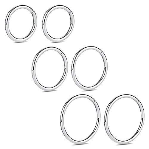 18 Gauge Surgical Steel Segment Septum Ring Hinge Clicker Nose Hoop Jewelry Ring Piercing Earrings 8/10/12mm Silver ()