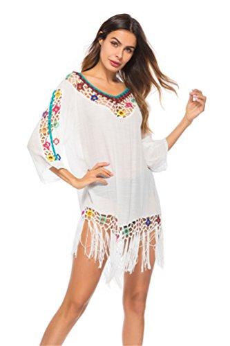 Couverture Des Femmes Joygown Ups Pour La Protection De Maillots De Bain Coups De Soleil D'été Style Vêtements De Plage Blanc