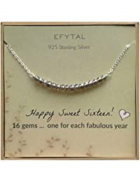 16th Birthday Gifts for Girls, Sterling Silver Sweet 16 Necklace for 16 Year Old Girl, Jewelry Gift Idea