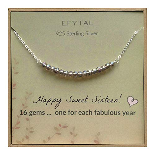 EFYTAL 16th Birthday Gifts for Girls, Sterling Silver Sweet 16 Necklace for 16 Year Old Girl, Jewelry Gift -