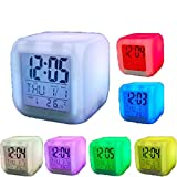 Vinmax 7 LED Color Change Digital Alarm Thermometer Clock with LCD Display Night
