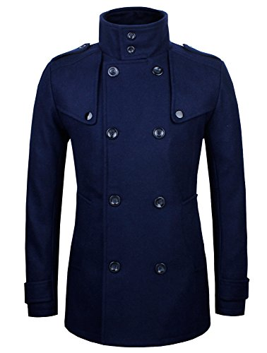HRYfashion Mens Stylish Fashion Classic Wool Double Breasted Pea Coat HRYCC06-NAVY-US (Us Navy Style Mens Peacoat)