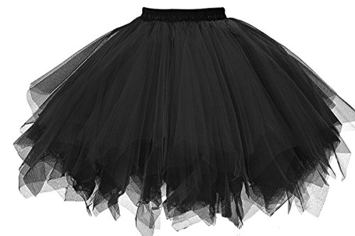 Ballerina Costume For Women (Musever 1950s Vintage Ballet Bubble Skirt Tulle Petticoat Puffy Tutu Black)