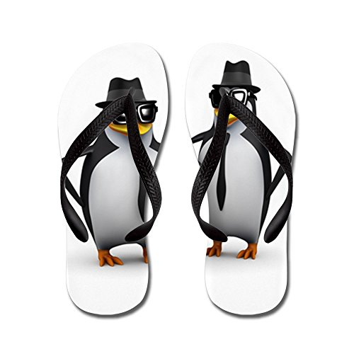 Truly Teague Kid's Cool Penguins Black Rubber Flip Flops Sandals 9-11 by Truly Teague