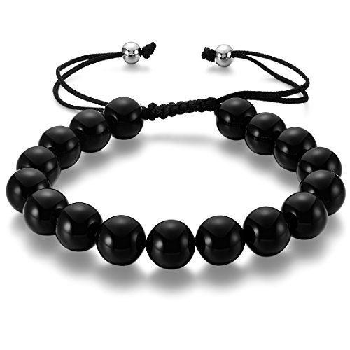 Black Agate Beads Bracelet, Cat Eye Jewels 8mm Healing Energy Gemstone Macrame Adjustable Elastic Stretch Bracelet for Men - Matte Yd