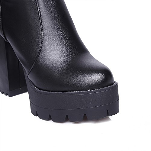 Solid PU Closed Black on Boots Heels Toe Women's Pull Allhqfashion Round High 5Xxqw1c0a