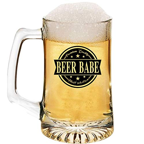 Beer Mugs for Women Girly Style Glass Birthday Gift Idea for Girls Ladies drinkers and Lovers of Brew With Prime By Mugish 14oz
