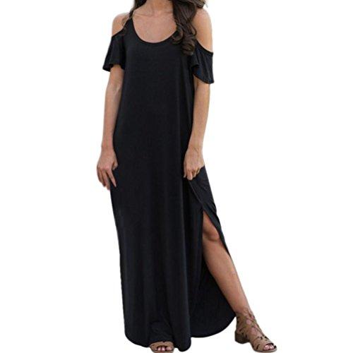 Women Casual Solid Sling Cold Shoulder Beach Split Boho Long Swing Maxi Dress(Black,Large (Long Dress Silk)