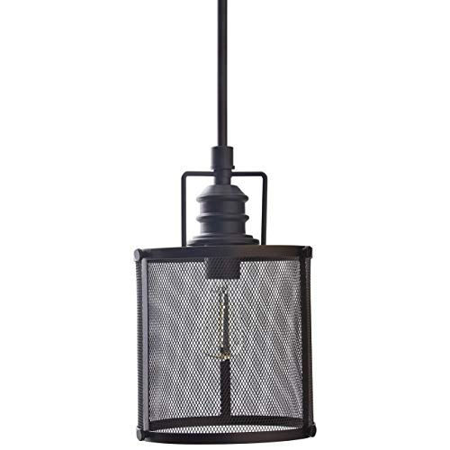 Stone Beam Hobbs Mesh Cage Pendant Ceiling Chandelier Fixture With Light Bulb – 7.75 Inch Shade, 20.5 – 60.5 Inch Cord, Oil-Rubbed Bronze