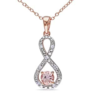 Rose Gold Flashed Silver Morganite and Accent Diamond Pendant (0.1 Cttw, G-H Color, I2-I3 Clarity), 18""