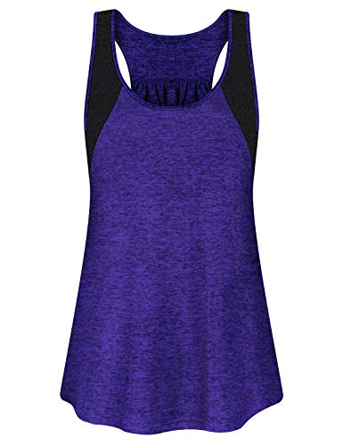 Activewear Sleeveless Tees - Yoga Tank Tops for Women,Cucuchy Running Shirts Casual Workout Fitness Sleeveless Clothes Fast Dry Cool Racerback Crew Neck Exercise Outfits Elastic Activewear Breathable Pilates T-Shirt Purple M