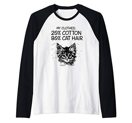 my clothes 20% cotton 80% cat hair Raglan Baseball Tee -