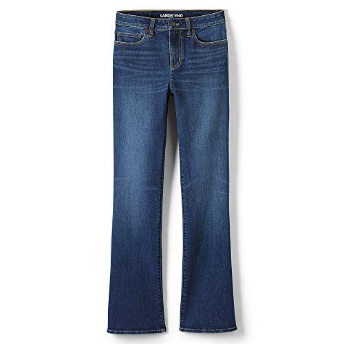 Lands' End Women's Tall Mid Rise Curvy Boot Cut Jeans, 18 36, Heron Blue