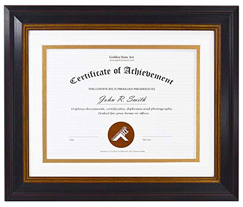 - Golden State Art, 8x10 Frame for 6x8 Diploma/Certificate, Black Gold & Burgundy Color. Includes White Over Gold Double Mat, Real Glass & Table-top Display