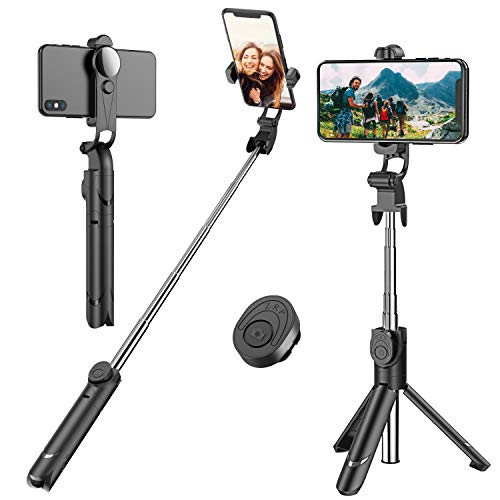 Selfie Stick, Extendable Selfie Stick Tripod with Detachable Wireless Remote and Tripod Stand Selfie Stick for iPhone X/iPhone 8/8 Plus/iPhone 7/7 Plus, Galaxy S9/S9 Plus/S8/S8 Plus/Note8,Huawei,More (Best Selfie Stick For Iphone And Android)