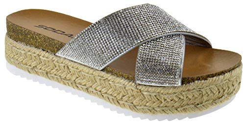(Womens Corky Casual Espadrilles Trim Rubber Sole Flatform Studded Wedge Buckle Ankle Strap Open Toe Sandals (9 M US, Silver Rhinestone))