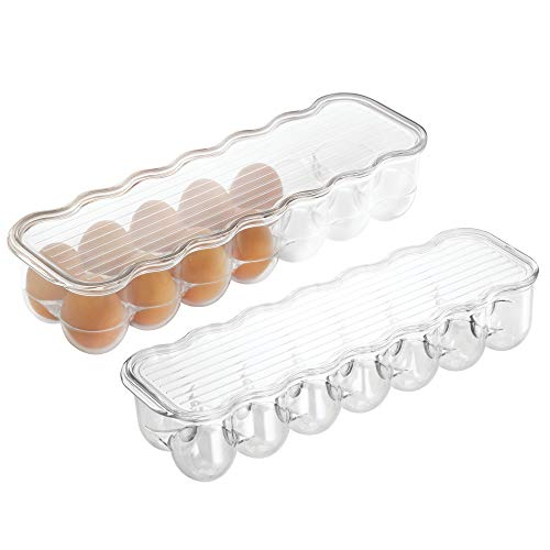 mDesign Stackable Plastic Covered Egg Tray Holder, Storage Container and Organizer for Refrigerator, Carrier Bin with Lid and Handle - Each Holds 14 Eggs - Pack of 2, Clear