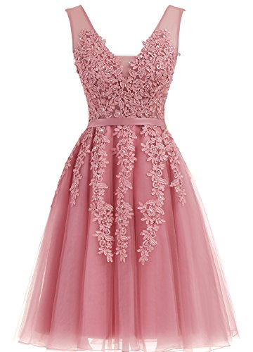 Annadress Women's Sleeveless Homecoming dresses Short Net Bridesmaid Dresses Appliques Evening Cocktail Gowns Pale Mauve 16