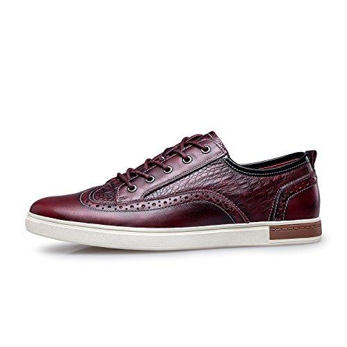 Zro Heren Wingtip Casual Lederen Oxford Sneaker Schoenen Wijn