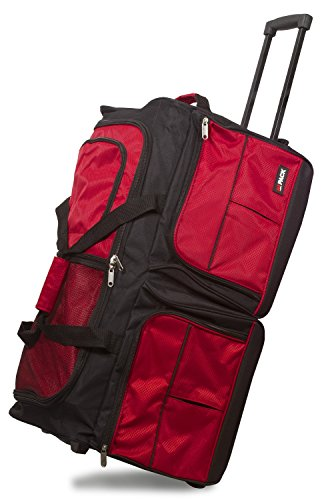 Hipack 28-inch Carry-on Rolling Duffle Bag Duffel, Red, One Size
