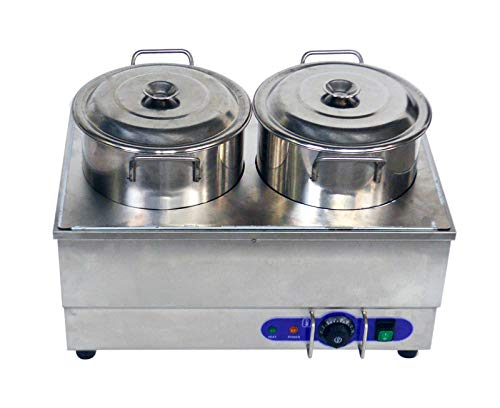 1500WCommercial Food Warmer Portable Steam Table Countertop 2 Pots Soup Station