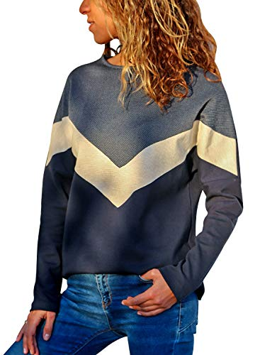 Sidefeel Women Crewneck Long Sleeve Color Block Sweatshirt Pullover Tops Medium Grey ()