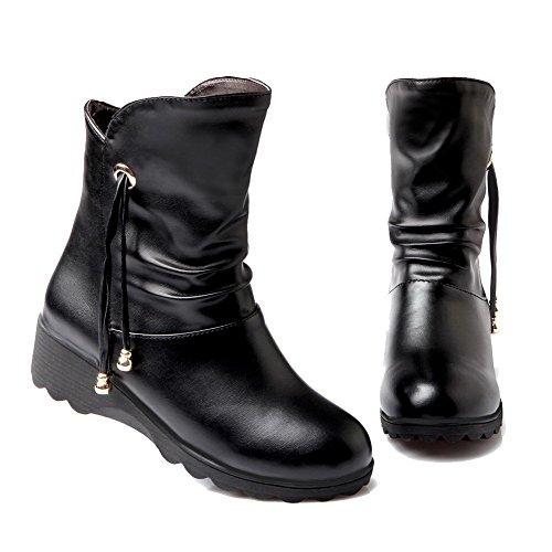 Allhqfashion Mujeres Soft Material Redondo Puntera Cerrada Sólida Low-top Low-heels Botas Negro