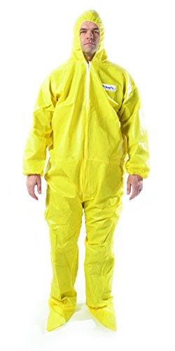 OmniPro AX6005A 85G Serged Bound Seams Protective Hazmat Suit Coveralls with Hood and Boots, Large, Yellow ()