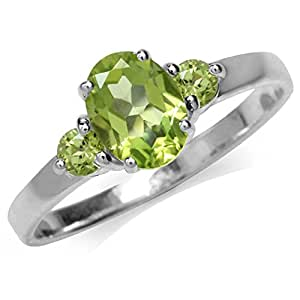 1.65ct. Natural Peridot White Gold Plated 925 Sterling Silver Engagement Ring Size 6