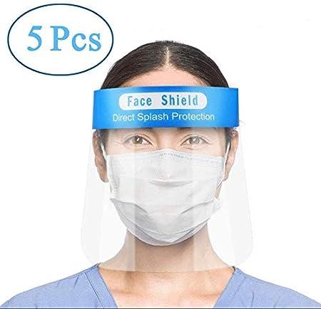Enjoyee 5 Viseras Protectora para la Cara, plástico Ligero, Ajustable, Transparente, para Evitar la Saliva, Gotas, Polen y Polvo(Azul)