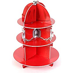 "Kidsco Red Fire Hydrant Cupcake Stand Holder 3 Tier, 5 3/4"" X 11"", 1 Hydrant Per Order - Table Decorations for Firefighter, Fire Rescue Themed Birthday, Halloween, Party"