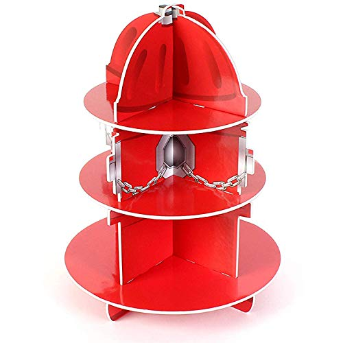 "Red Fire Hydrant Cupcake Stand Holder 3 Tier, 5 3/4"" X 11"", 1 Hydrant Per Order - Table Decorations for Firefighter, Fire Rescue Themed Birthday, Halloween, Party - by ()"