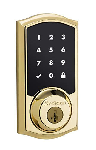 Kwikset SmartCode 916 Z-Wave Touchscreen Electronic Deadbolt with Home Connect Technology, Polished Brass (Automatic Locking Door Knob compare prices)