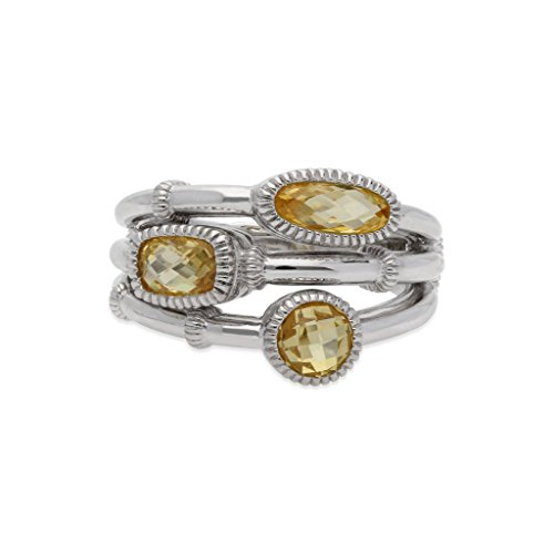 JUDITH RIPKA Sanibel Faceted Canary Crystal Faux Stack Ring (Judith Ripka Crystal Ring)