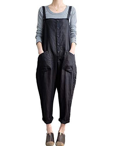ca62e9574ba LVCBL Women Casual Overall Sleeveless Loose Baggy Playsuit Jumpsuit  Dungarees 1 Black S