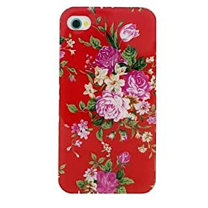 JAJAY- The Blooming Flowers Pattern TPU Material Soft Back Cover Case for iPhone 4/4S