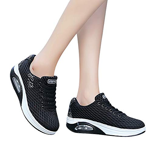 Mesh Lace HLHN Max Outdoor Platform Sneakers Walking Sport Women up Shoes Breathable Air Wedges Black Casual Running IBrwZPB0