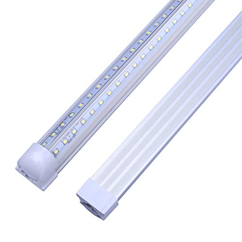 Aluminum Ballast - LED Tube Light,Double Side V Shape Integrated Bulb Lamp, 8FT 72W (150W Fluorescent Equivalent), Works without T8 Ballast, Plug and Play, Clear Lens Cover, Cold White 6000K - Pack of 25 Units