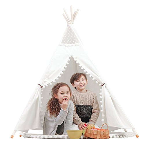 Princess Indian Teepee Tent Children Playhouse Kids Play Room Furniture Top Lace with Hanging Pompoms Ball with Mat