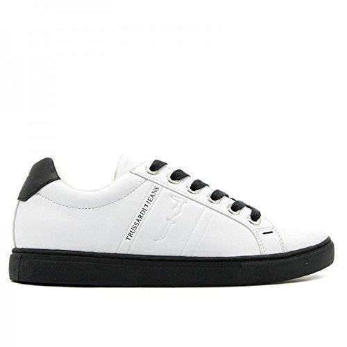 Trussardi Jeans sneakers basse uomo ecopelle 77A00004 - white black ... 5b86f229167