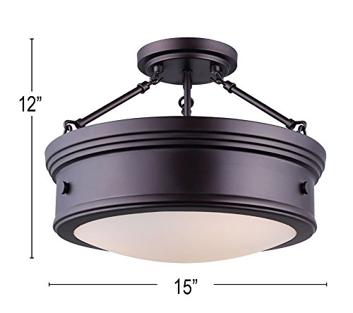 Canarm LTD ISF624A03ORB Boku ORB 3 Bulb Semi-Flush Mount Oil Rubbed Bronze with Flat Opal Glass by Canarm (Image #2)