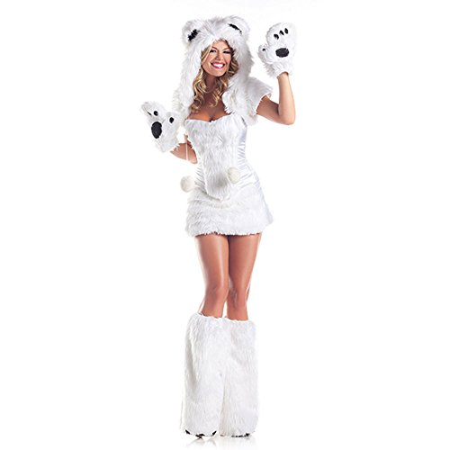 Be Wicked Costumes Women's Polar AR Costume, White, Small/Medium (Sexy Polar Bear Costume)