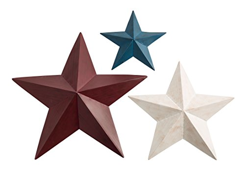 Miles Kimball 359456 Maple Lane Creations Red, White, Blue Barn Stars, Set/3, One Size Fits All